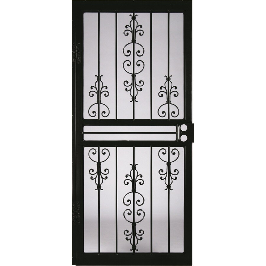 LARSON Garden View Black Steel Recessed Mount Single Security Door (Common: 34-in x 8-in; Actual: 33.75-in x 79.75-in)