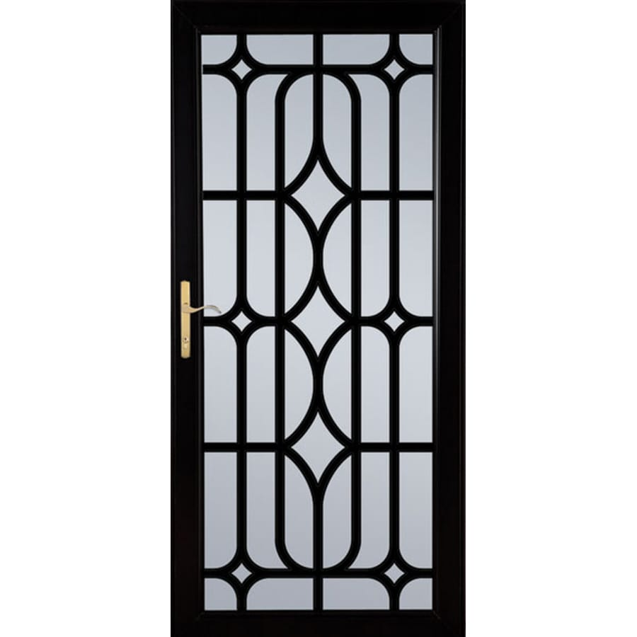 LARSON Citadel Nickel Black Aluminum Security Door (Common: 36-in x 81-in; Actual: 35.75-in x 79.75-in)