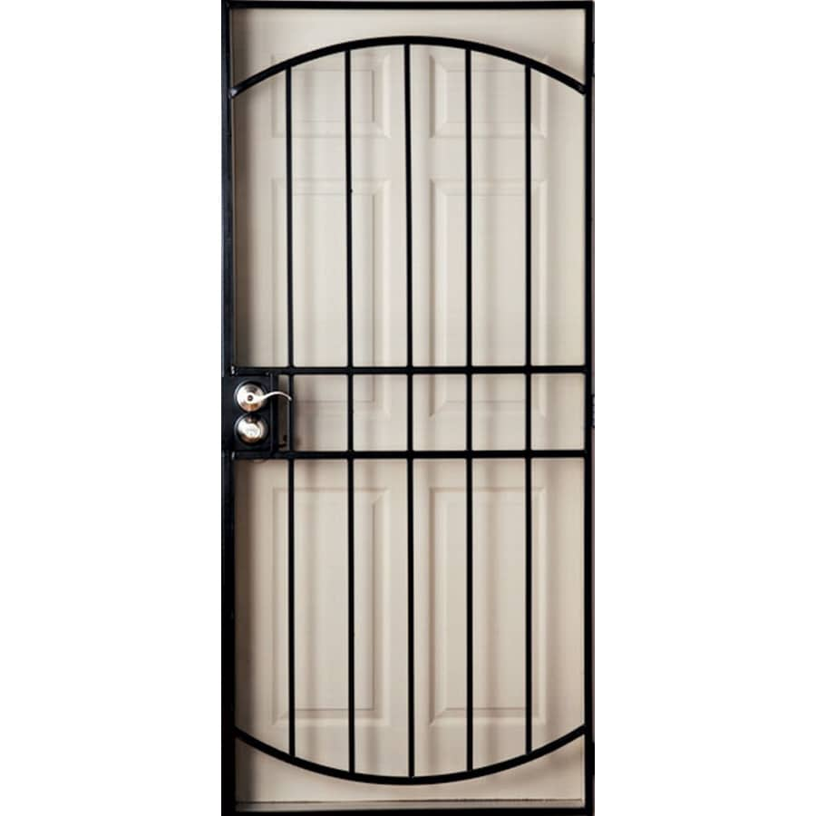 Shop gatehouse gibraltar black steel security door common for Metal security doors