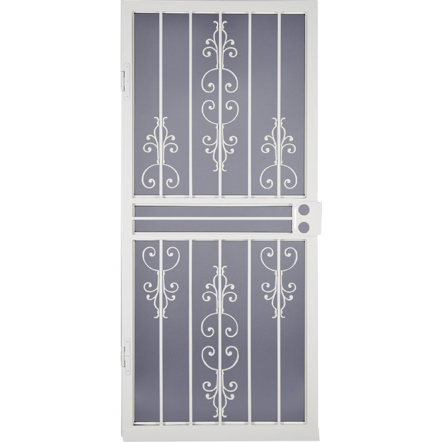 LARSON Garden View White Steel Security Door (Common: 36-in x 81-in; Actual: 35.75-in x 79.75-in)