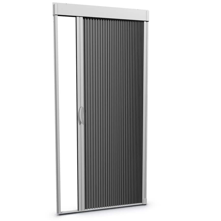 Shop larson inspire white aluminum retractable curtain for Accordion retractable screen doors