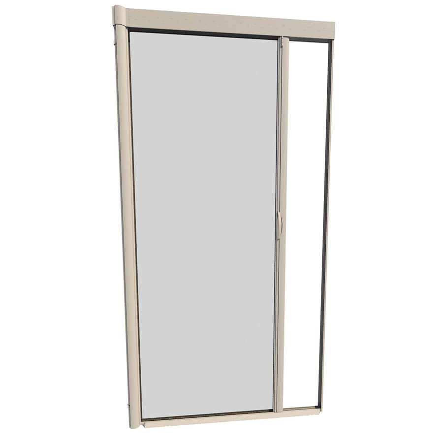 larson escape desert tan aluminum retractable screen door common 39in x 81