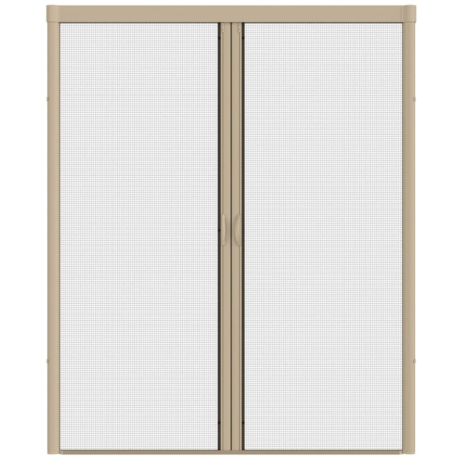 LARSON Escape Desert Tan Aluminum Retractable Curtain Screen Door (Common: 84-in x 81-in; Actual: 84-in x 79-in)