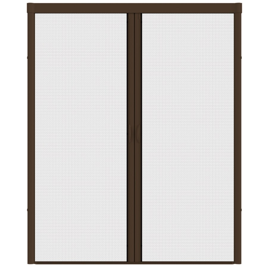 LARSON Escape Brownstone Aluminum Retractable Curtain Screen Door (Common: 96-in x 93-in; Actual: 96-in x 91-in)