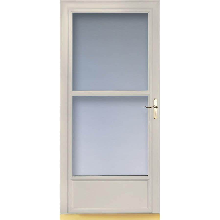Shop larson 32 in w almond retractable screen storm door for Disappearing screen doors lowes