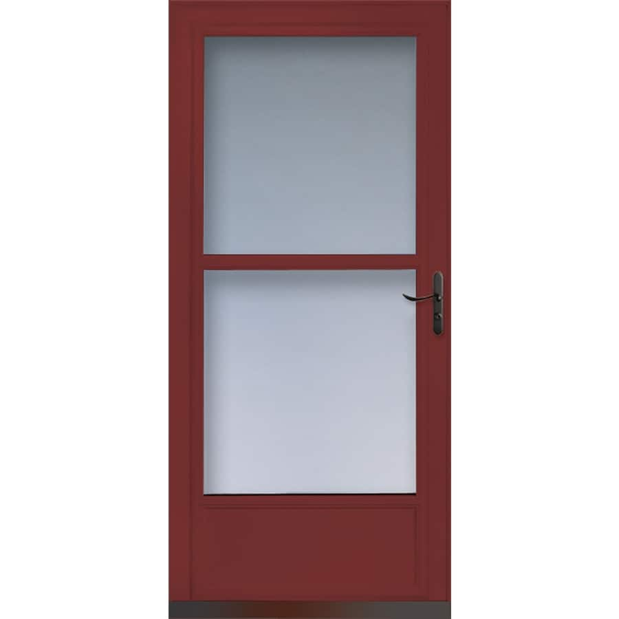 Shop larson tradewinds cranberry mid view tempered glass for 32 retractable screen door