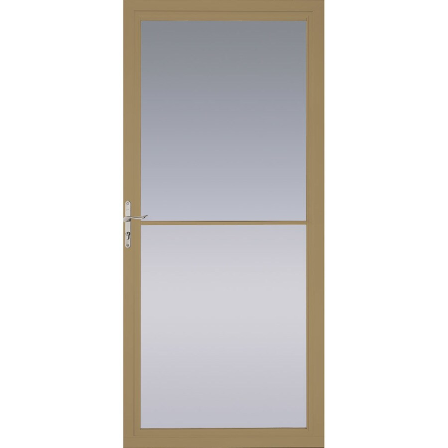 Pella Montgomery Putty Full-View Tempered Glass Retractable Aluminum Storm Door (Common: 32-in x 81-in; Actual: 31.75-in x 79.875-in)