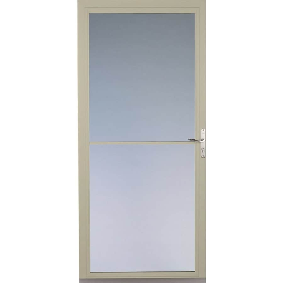 Shop pella montgomery poplar white full view aluminum for Disappearing screen doors lowes