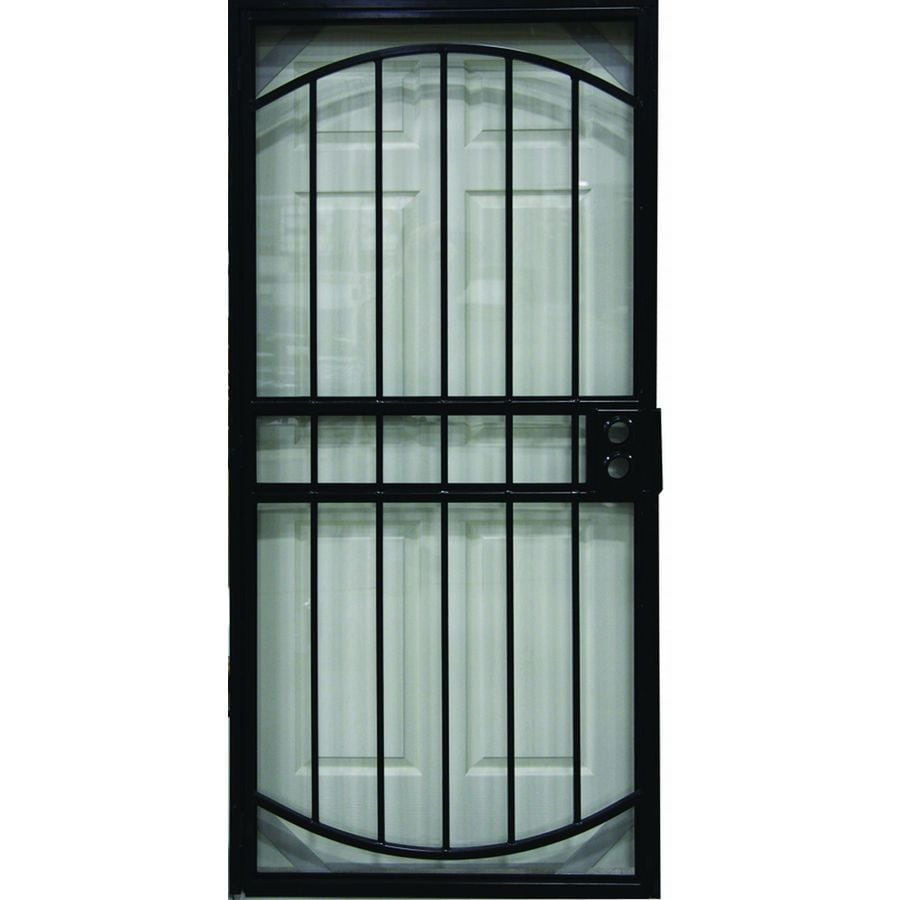 Shop larson geneva black steel security door common 36 for Front door security bar