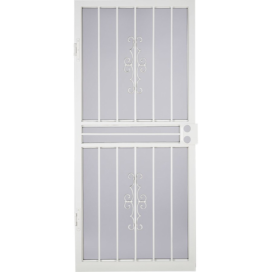 LARSON Courtyard White Steel Recessed Mount Single Security Door (Common: 34-in x 81-in; Actual: 33.75-in x 79.75-in)