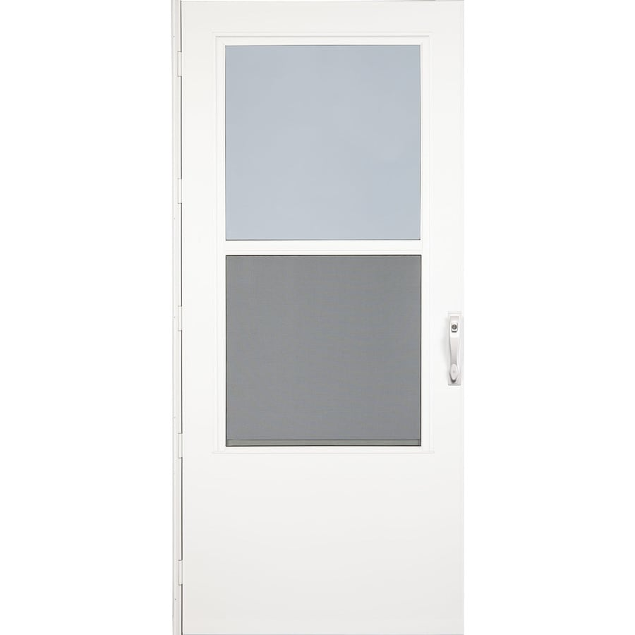 Shop larson white mid view wood core storm door with self for Front door screen doors lowes