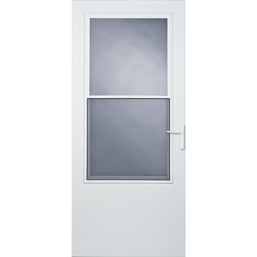 LARSON Athens White Mid-View Tempered Glass Self Storing Wood Core Storm Door (Common: 30-in x 81-in; Actual: 29.75-in x 79.875-in)