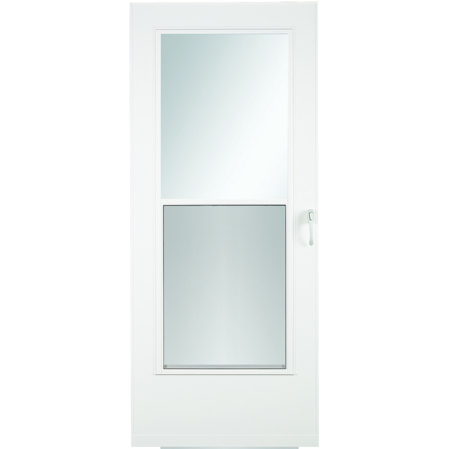 Mobile Home Exterior Doors Lowes: LARSON Mobile Home White Mid-View Wood Core Storm Door