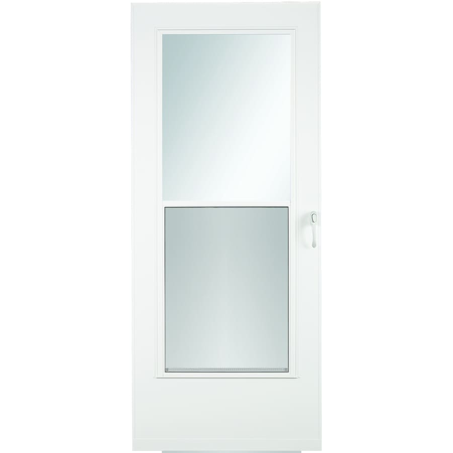Shop LARSON Mobile Home White Mid-View Wood Core Storm Door (Common on wood storage building doors, wood exterior doors, wood barn doors, wood interior doors, lowe's solid wood doors, wood patio doors, wood room doors, wood boat doors, wood commercial doors, wood farm doors, wood garage doors, wood skylights, wood tudor doors, wood restaurant doors, wood log cabin doors, wood flat doors, main entrance wood doors, wood industrial doors, wood door design, wood ranch doors,