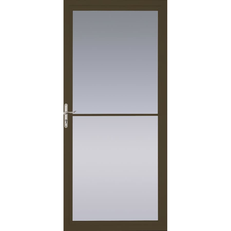 Shop pella montgomery brown full view aluminum storm door for What is the best retractable screen door