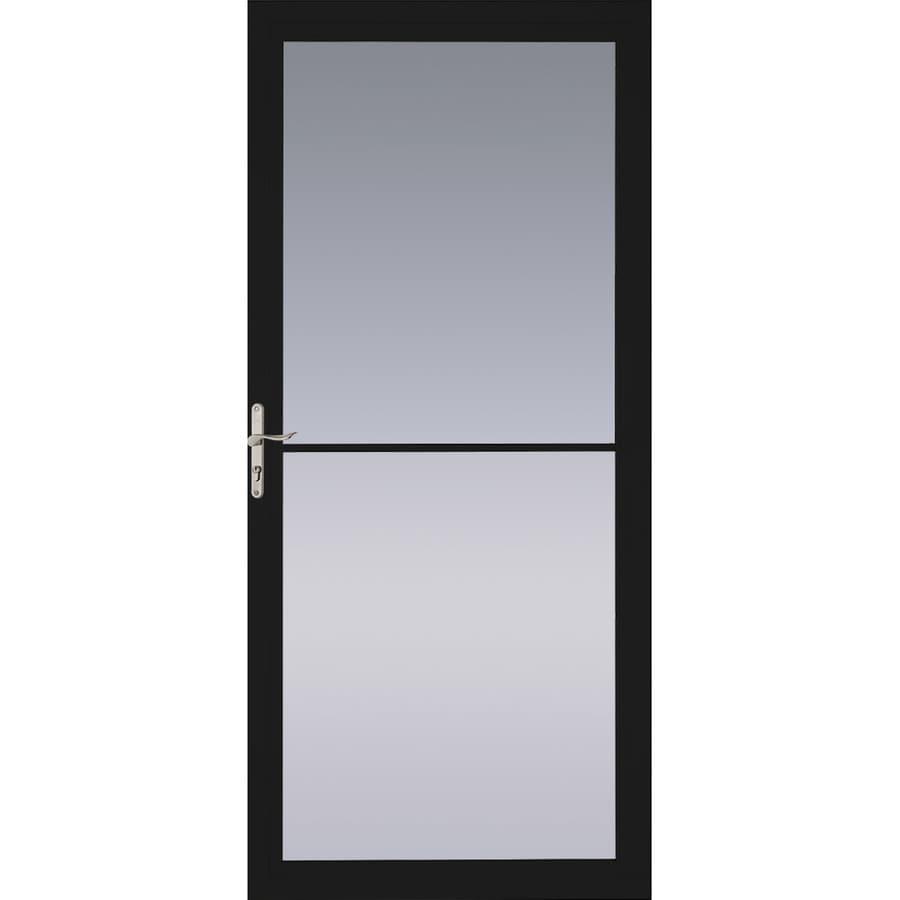 Pella Montgomery Black Full-View Aluminum Storm Door with Retractable Screen (Common: 36-in x 81-in; Actual: 35.75-in x 79.875-in)