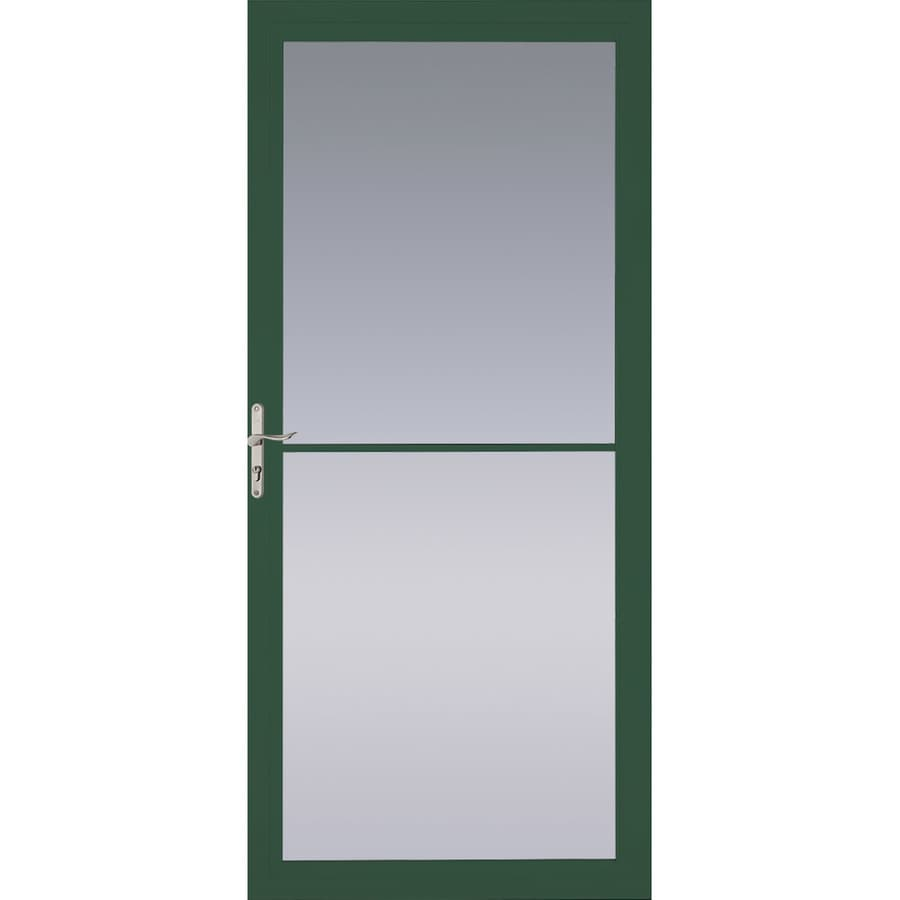 Pella Montgomery Hartford Green Full-View Aluminum Storm Door with Retractable Screen (Common: 36-in x 81-in; Actual: 35.75-in x 79.875-in)