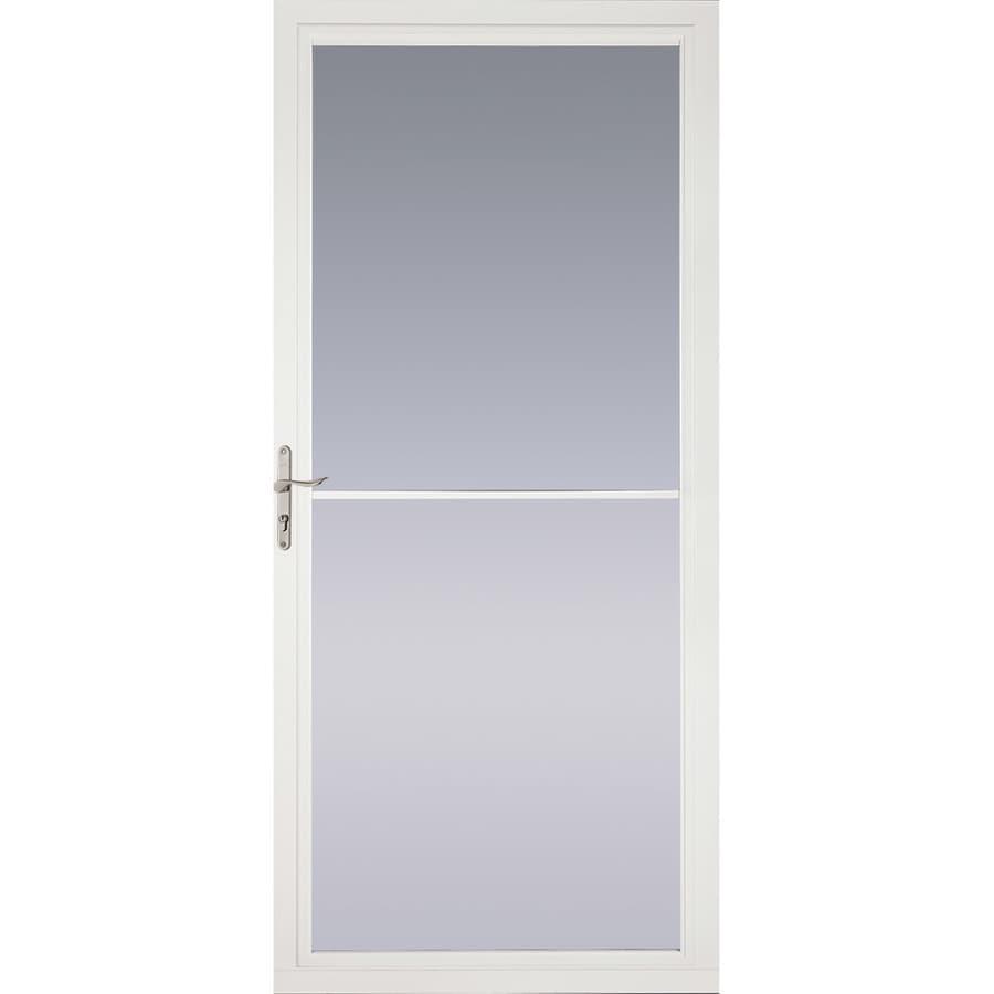 Pella Montgomery White Full-View Tempered Glass Retractable Aluminum Storm Door (Common: 32-in x 81-in; Actual: 31.75-in x 79.875-in)