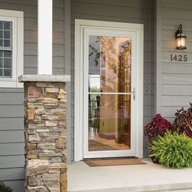 Shop pella montgomery white full view aluminum storm door for Pella retractable screen door