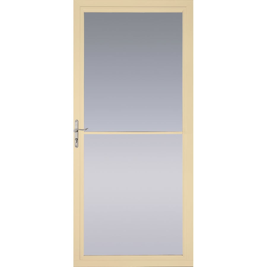Pella Montgomery Poplar White Full-View Tempered Glass Retractable Aluminum Storm Door (Common: 36-in x 81-in; Actual: 35.75-in x 79.875-in)