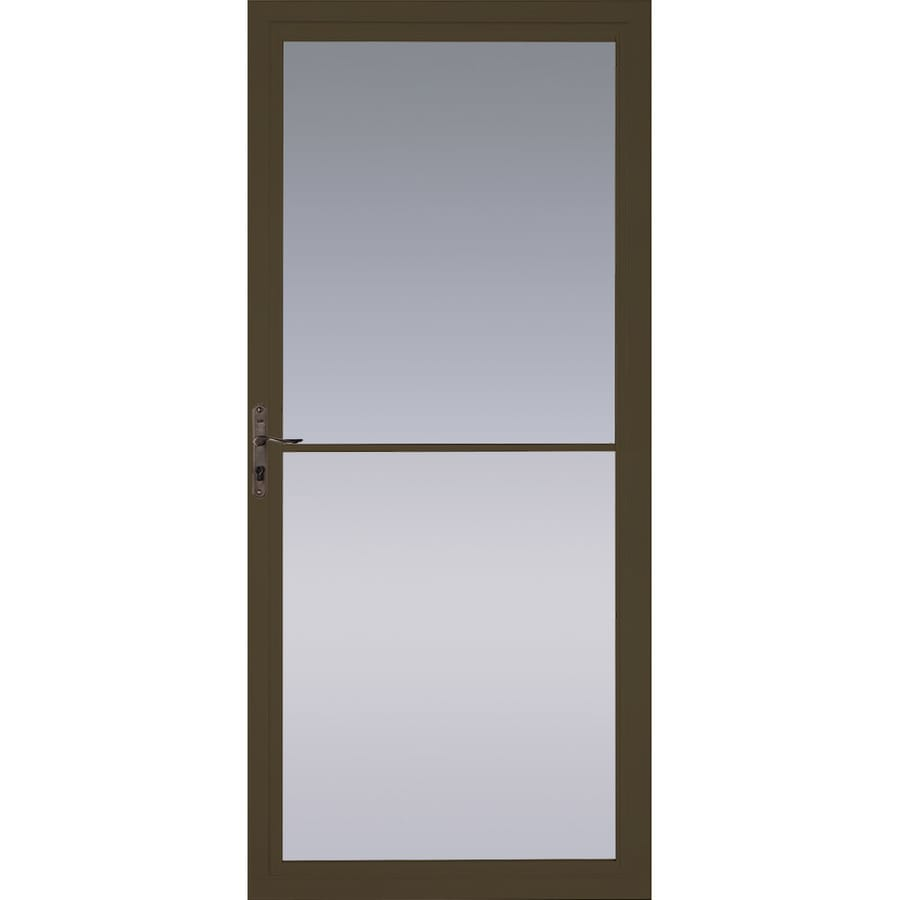 Pella Montgomery Brown Full-View Tempered Glass Retractable Aluminum Storm Door (Common: 36-in x 81-in; Actual: 35.75-in x 79.875-in)