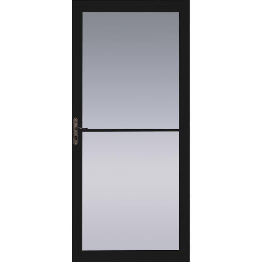 Pella Montgomery Black Full-View Tempered Glass Retractable Aluminum Storm Door (Common: 32-in x 81-in; Actual: 31.75-in x 79.875-in)