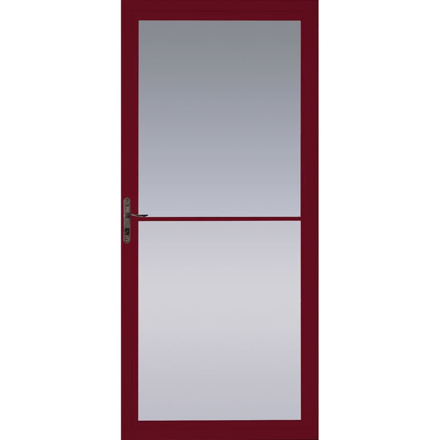 Pella Montgomery Cranberry Full-View Aluminum Storm Door with Retractable Screen (Common: 36-in x 81-in; Actual: 35.75-in x 79.875-in)