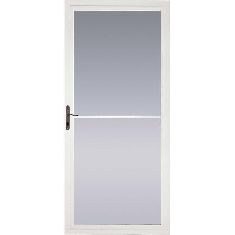 Shop pella montgomery white full view aluminum storm door for Folding screen door
