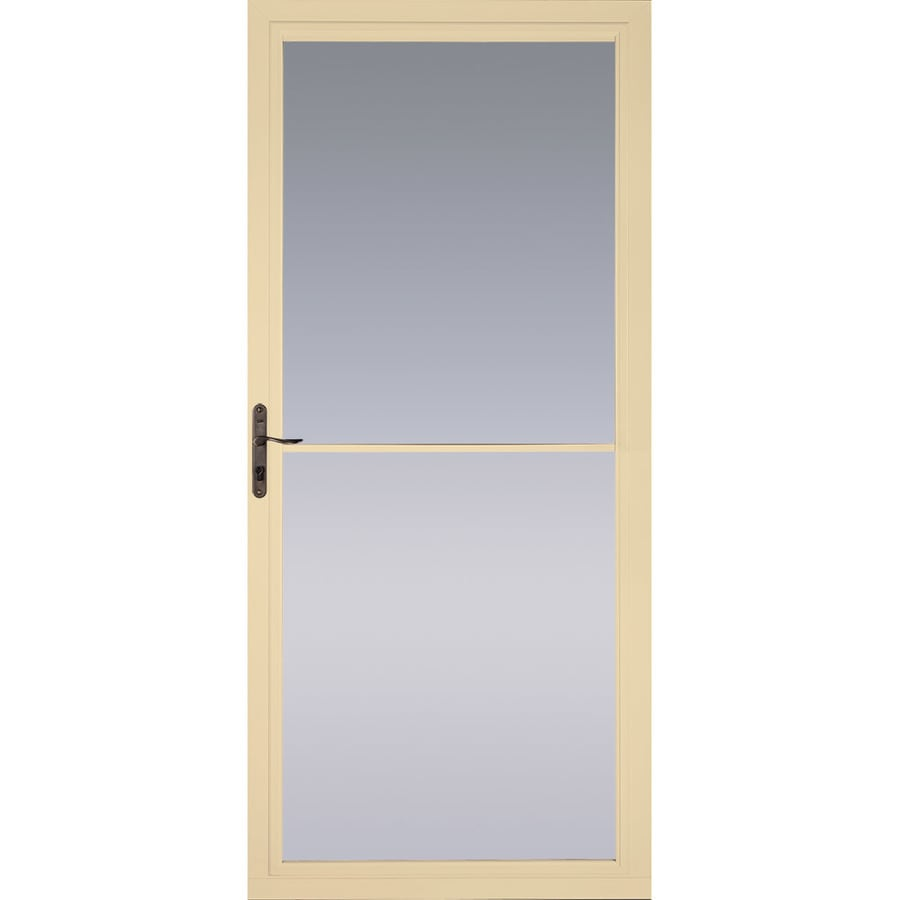 Shop pella montgomery poplar white full view aluminum for Retractable screen door