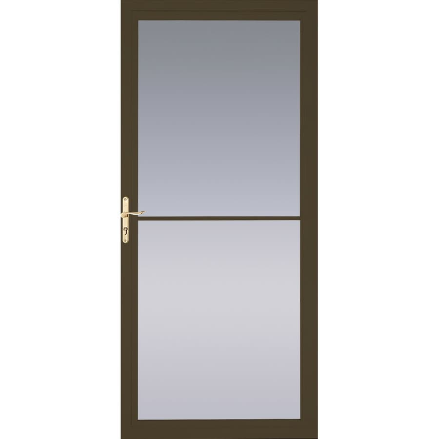 Pella Montgomery Brown Full-View Aluminum Retractable Screen Storm Door (Common: 32-in x 81-in; Actual: 31.75-in x 79.875-in)