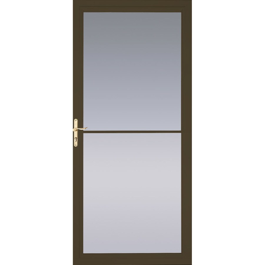 Pella Montgomery Brown Full View Aluminum Storm Door With Retractable Screen Common 36 In X 81 Actual 35 75 79 875