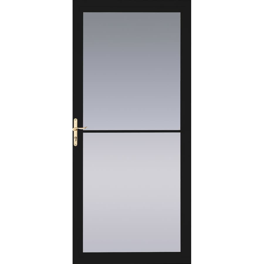 Pella Montgomery Black Full-View Aluminum Storm Door with Retractable Screen (Common: 36-in x 81-in; Actual: 35.75-in x 79.875-in)