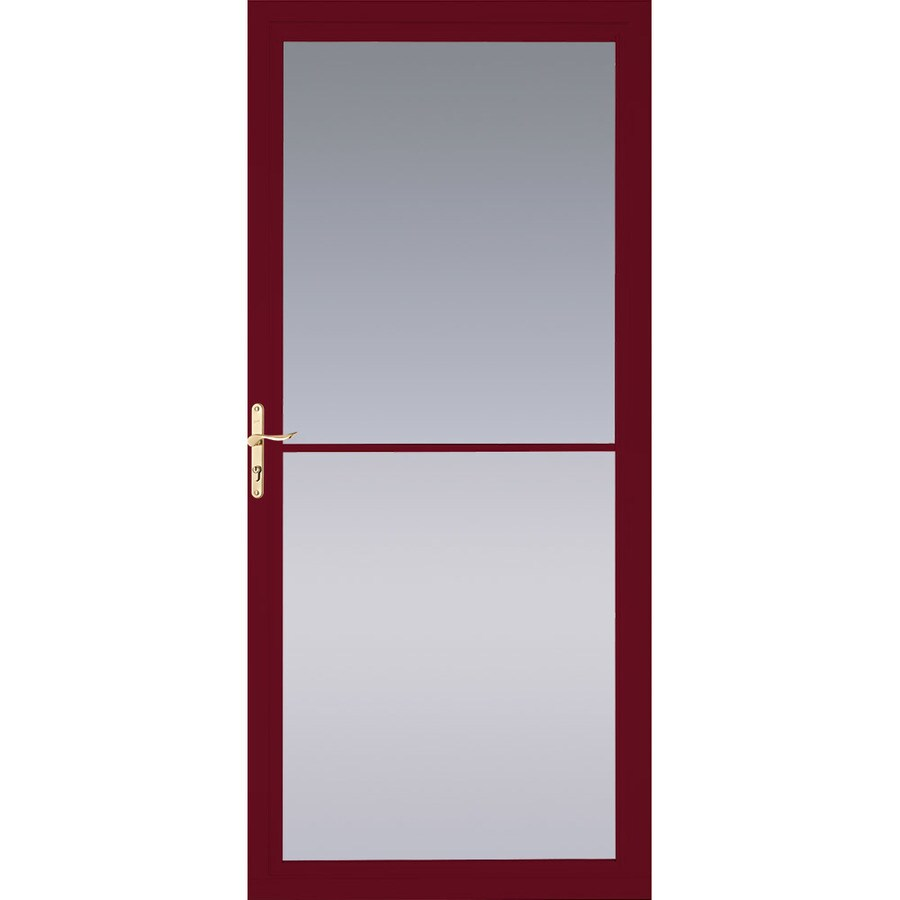 Pella Montgomery Cranberry Full-View Tempered Glass Retractable Aluminum Storm Door (Common: 36-in x 81-in; Actual: 35.75-in x 79.875-in)