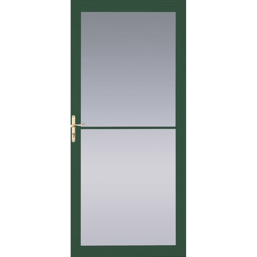 Pella Montgomery Hartford Green Full-View Tempered Glass Retractable Aluminum Storm Door (Common: 36-in x 81-in; Actual: 35.75-in x 79.875-in)