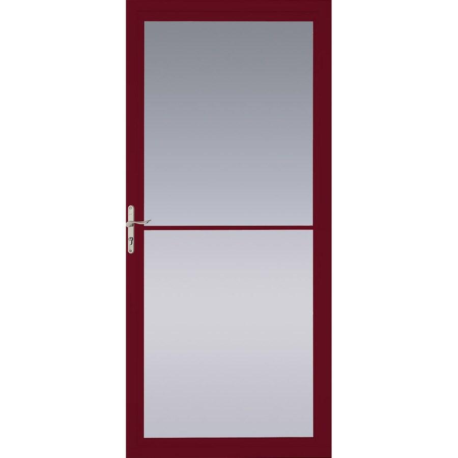 Pella Montgomery Cranberry Full-View Tempered Glass Retractable Aluminum Storm Door (Common: 32-in x 81-in; Actual: 31.75-in x 79.875-in)