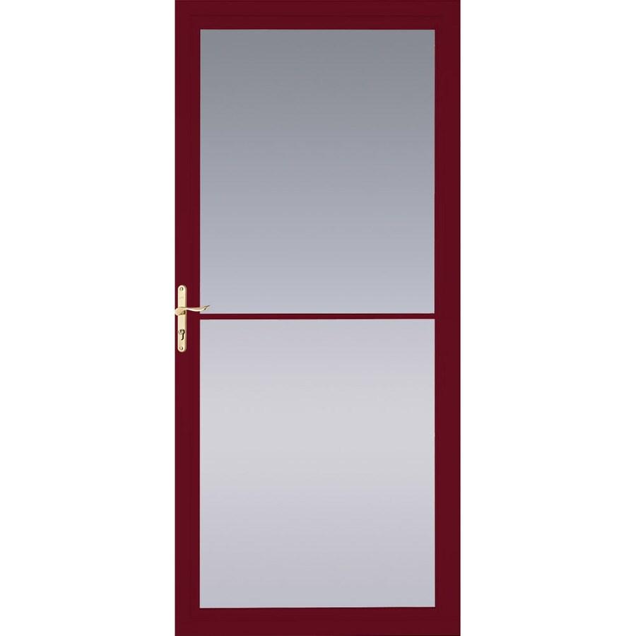 Pella Montgomery Cranberry Full-View Aluminum Retractable Screen Storm Door (Common: 32-in x 81-in; Actual: 31.75-in x 79.875-in)