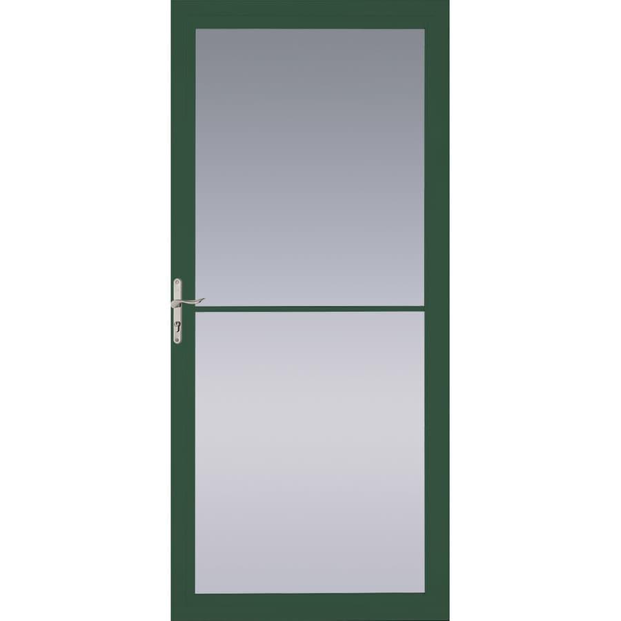 Pella Montgomery Hartford Green Full-View Tempered Glass Retractable Aluminum Storm Door (Common: 32-in x 81-in; Actual: 31.75-in x 79.875-in)