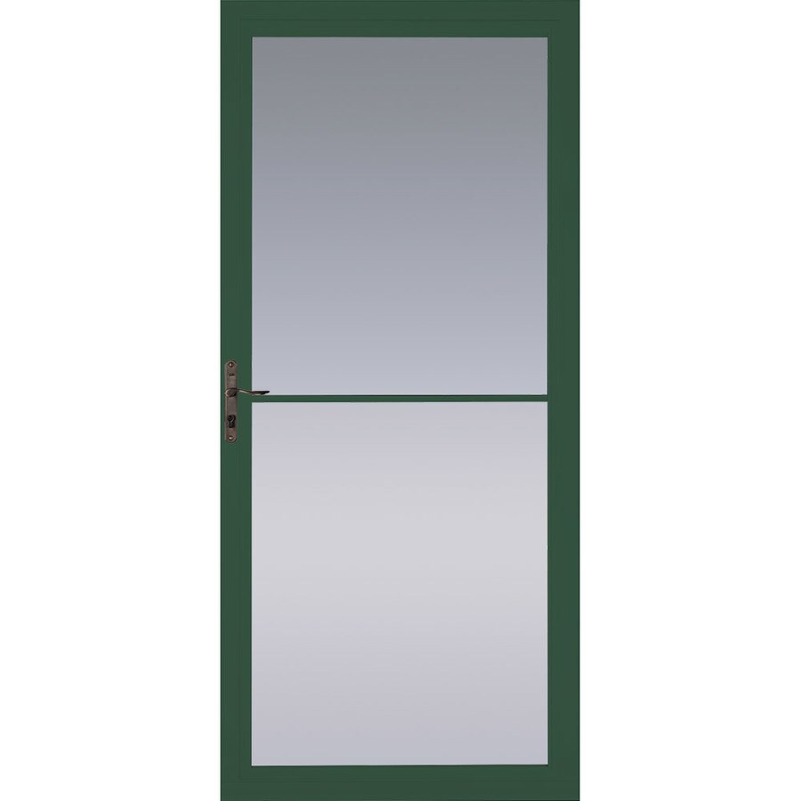 Pella Montgomery Hartford Green Full-View Aluminum Retractable Screen Storm Door (Common: 32-in x 81-in; Actual: 31.75-in x 79.875-in)