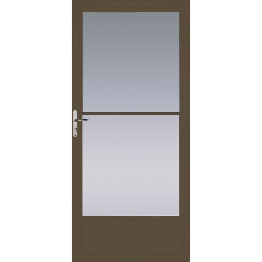 Pella Brown Mid-View Aluminum Storm Door with Retractable Screen (Common: 36-in x 81-in; Actual: 35.75-in x 79.875-in)