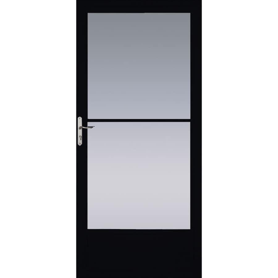 Pella Black Mid-View Aluminum Storm Door (Common: 36-in x 81-in; Actual: 35.75-in x 79.875-in)