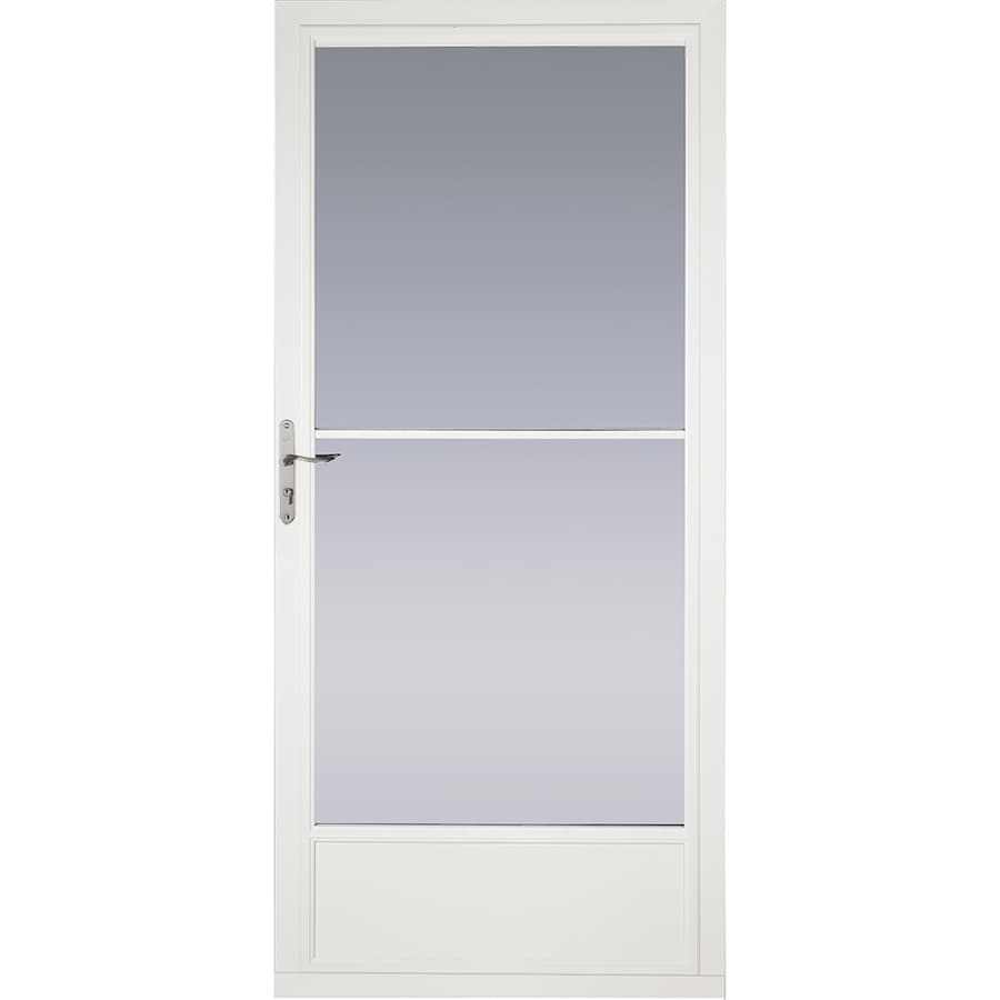 Pella White Mid-View Aluminum Storm Door with Retractable Screen (Common: 36-in x 81-in; Actual: 35.75-in x 79.875-in)