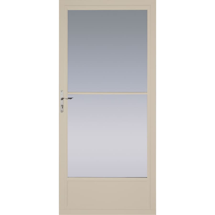 Shop pella tan mid view aluminum storm door with for Retractable screen door