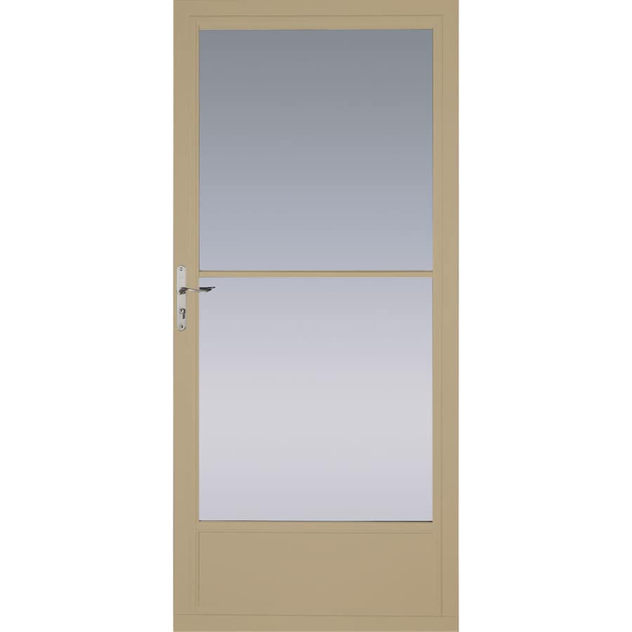 Shop Pella Putty Mid View Aluminum Storm Door With Retractable