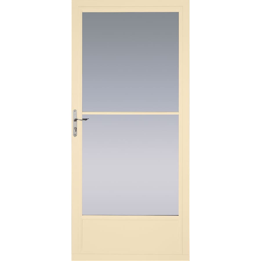 Pella Poplar White Mid-View Aluminum Retractable Screen Storm Door (Common: 36-in x 81-in; Actual: 35.75-in x 79.875-in)