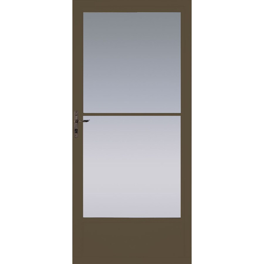 Pella Brown Mid-View Aluminum Storm Door (Common: 32-in x 81-in; Actual: 31.75-in x 79.875-in)