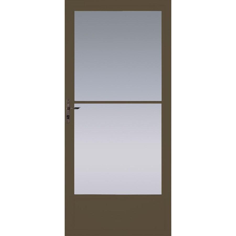 Pella Brown Mid-View Aluminum Storm Door with Retractable Screen (Common: 36-in x 81-in; Actual: 35.75-in x 79.875-in)