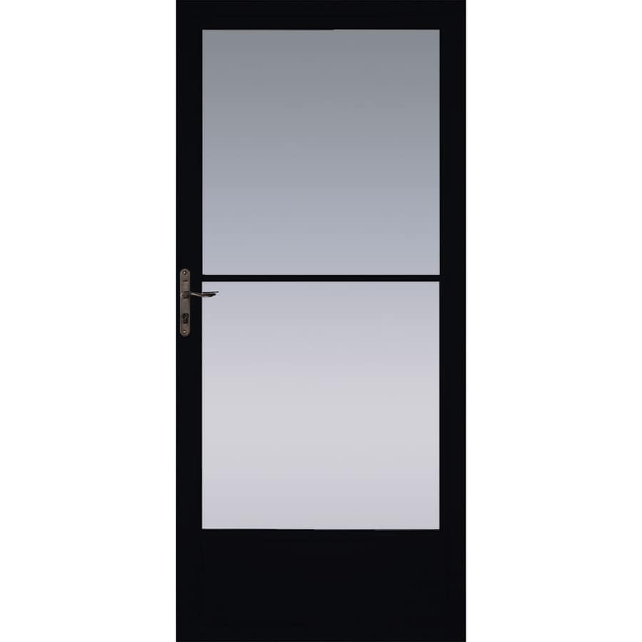 Pella Black Mid-View Tempered Glass Retractable Aluminum Storm Door (Common: 36-in x 81-in; Actual: 35.75-in x 79.875-in)
