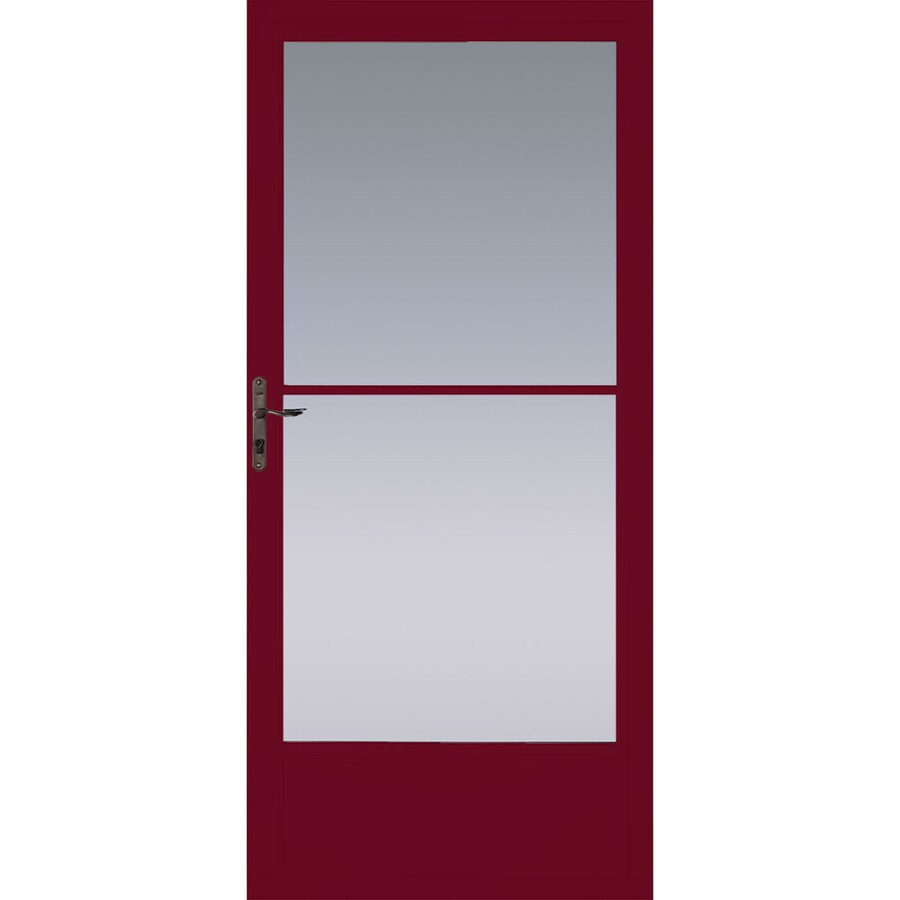 Pella Cranberry Mid-View Aluminum Storm Door with Retractable Screen (Common: 32-in x 81-in; Actual: 31.75-in x 79.875-in)