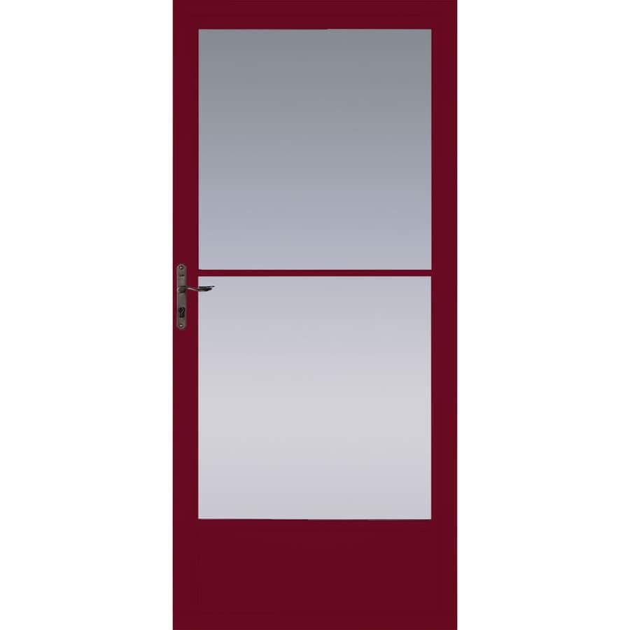 Pella Cranberry Mid-View Aluminum Storm Door (Common: 36-in x 81-in; Actual: 35.75-in x 79.875-in)