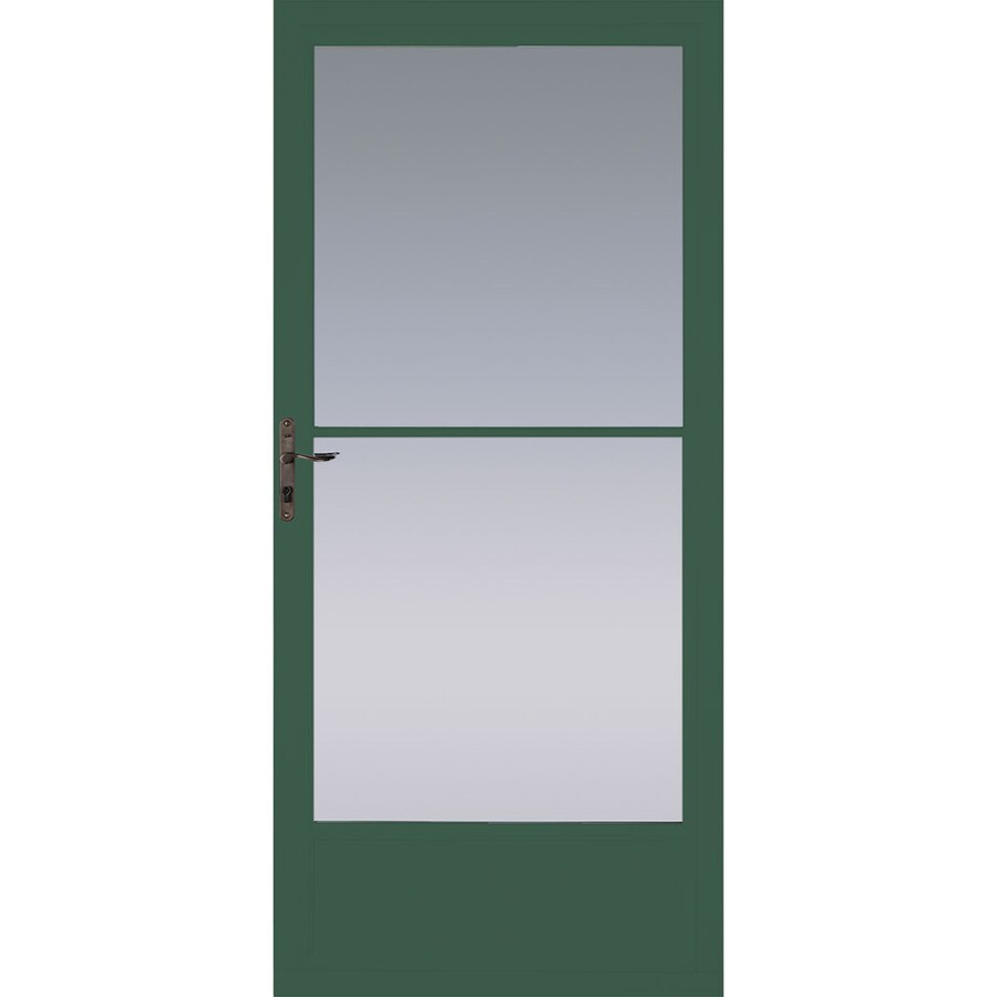 Pella Hartford Green Mid-View Tempered Glass Retractable Aluminum Storm Door (Common: 36-in x 81-in; Actual: 35.75-in x 79.875-in)